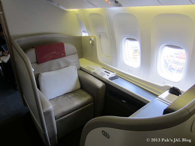 JAL Suite seat 2A in upright position for takeoff and landing