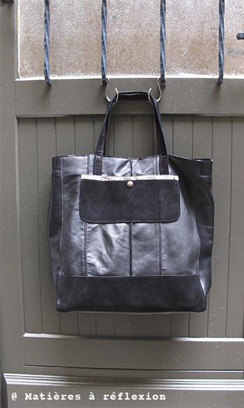 Cabas cuir noir / métallisé ArtDeco Matières à réflexion