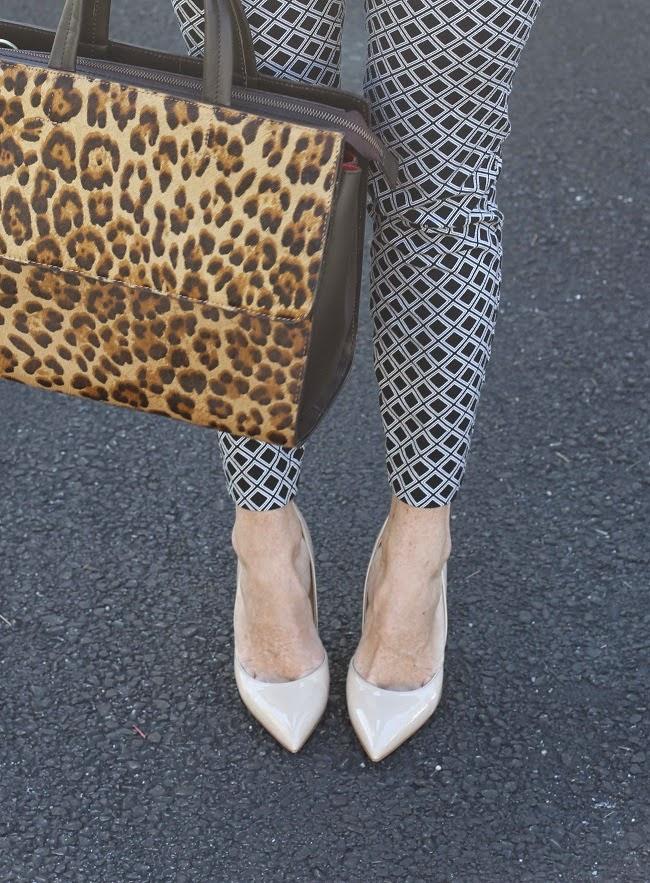 boden leopard handbag, old navy pixie pants, kate spade nude heels