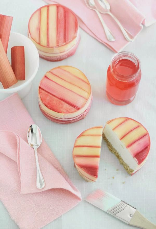 Rhubarb Wrapped Pineapple Mousse Cake recipe