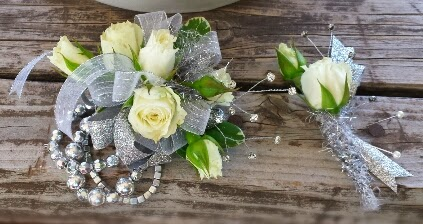 Silver! bracelet, silver glitter ribbon, silver eyelash ribbon & of course the classic white rose