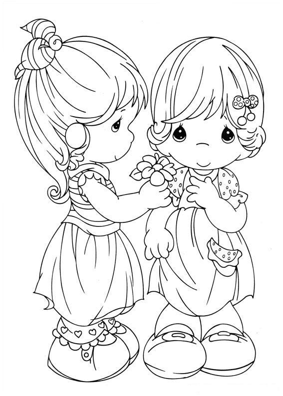 Girls Precious Moments Coloring Child Coloring