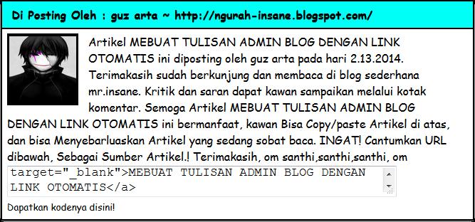 cara membuat tulisan admin di blog