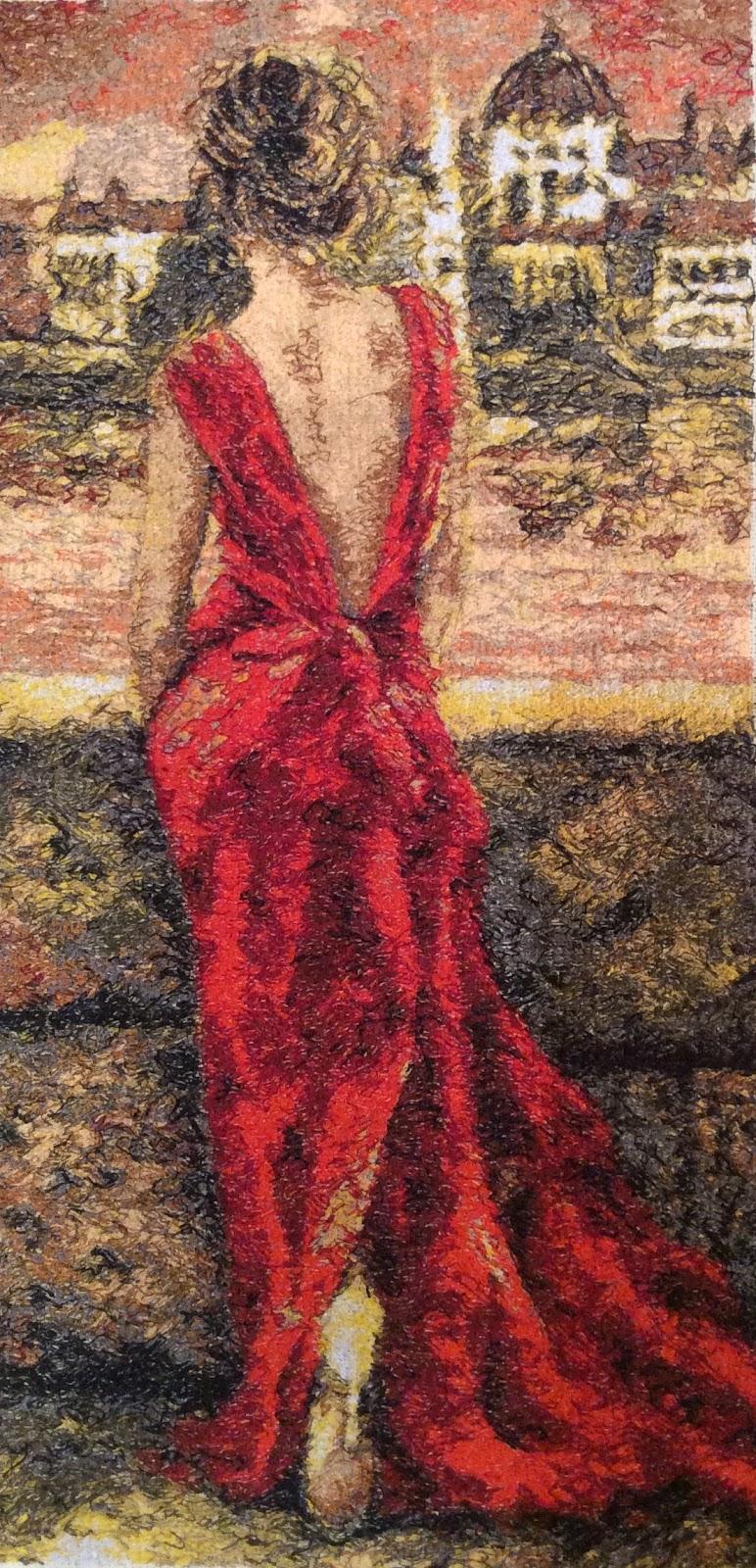 Девушка в красном вышивка 11