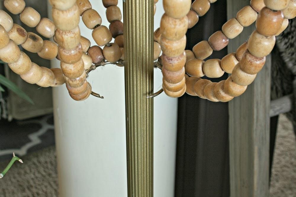 metal hinged snap ring, diy chandelier lamp shade, diy wood beads, repurposed seat covers