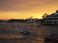Water taxis at sunset - Bandar Seri Begawan waterfront