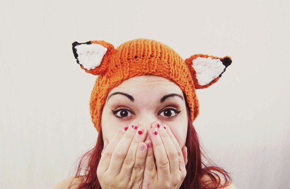 Hand knit fantastic fox hat for fall