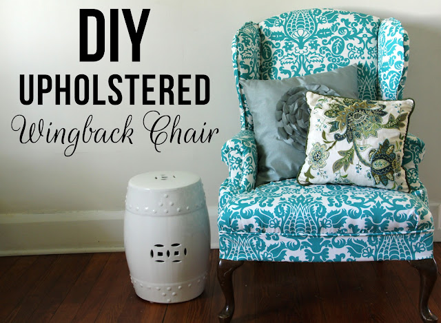 I have been wanting to get this chair done for what seems like an eternity. I showed you the  before  picture HERE ... & Lovely Little Life: DIY Upholstered Wingback Chair