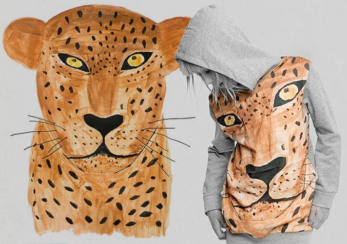 Hand painted leopard print for Missie Munster AW14 kidswear collection