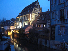 Cheap skiing Vosges France - Colmar town at night