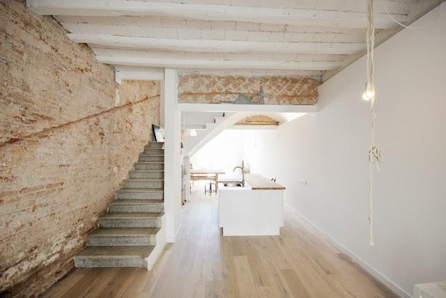 cocina abierta en casa restaurada