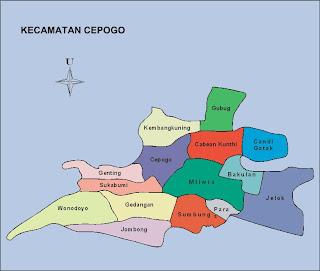 peta Cepogo sebuah kecamatan di Kabupaten Boyolali, Jawa Tengah, Indonesia