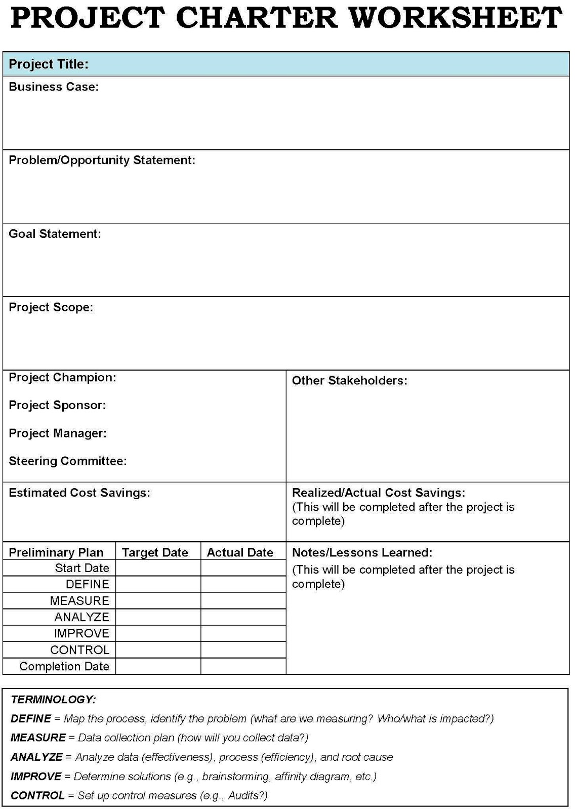 Six sigma for One page project charter template