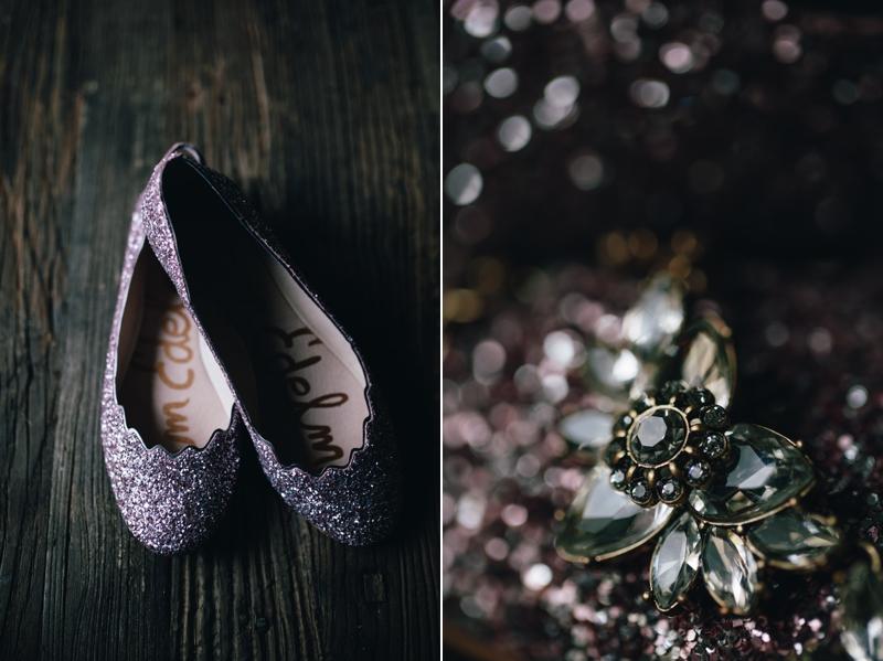 the bride's glittery flats