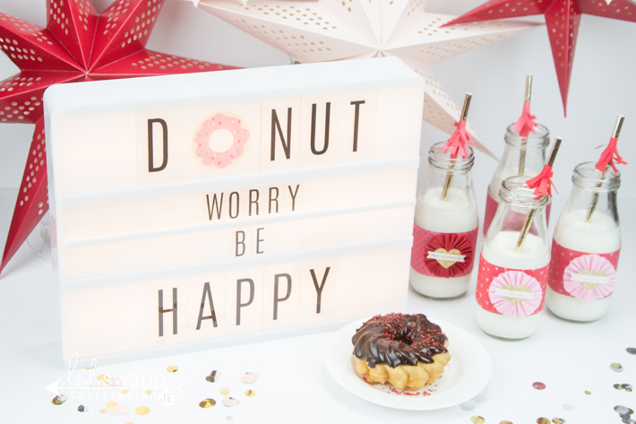 I wanted to cheer up my son this weekend and he was oh so surprised with this fun donut party. It was easy to slide in the sentiment into my Heidi Swapp ...