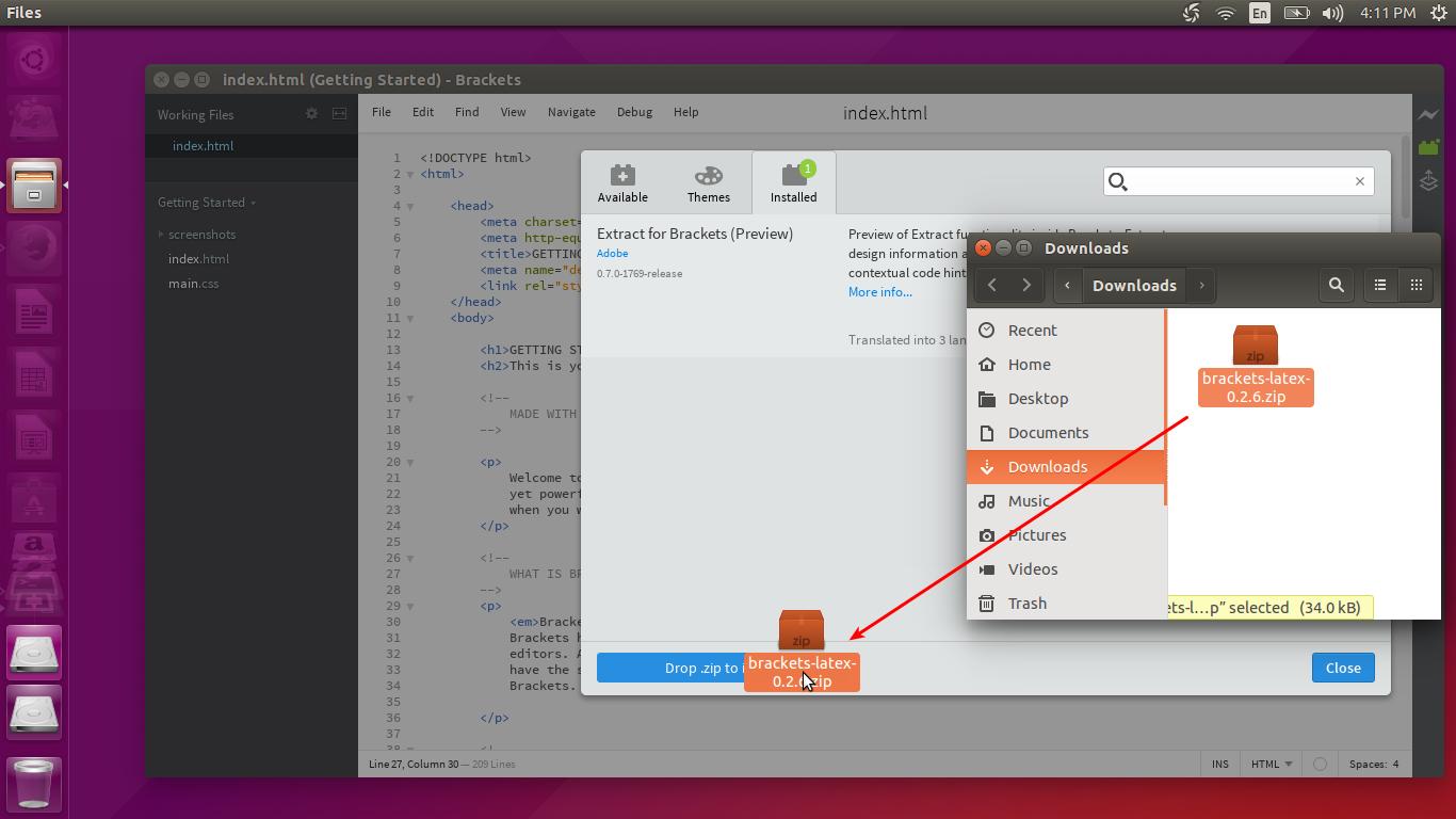 how to open brackets in ubuntu