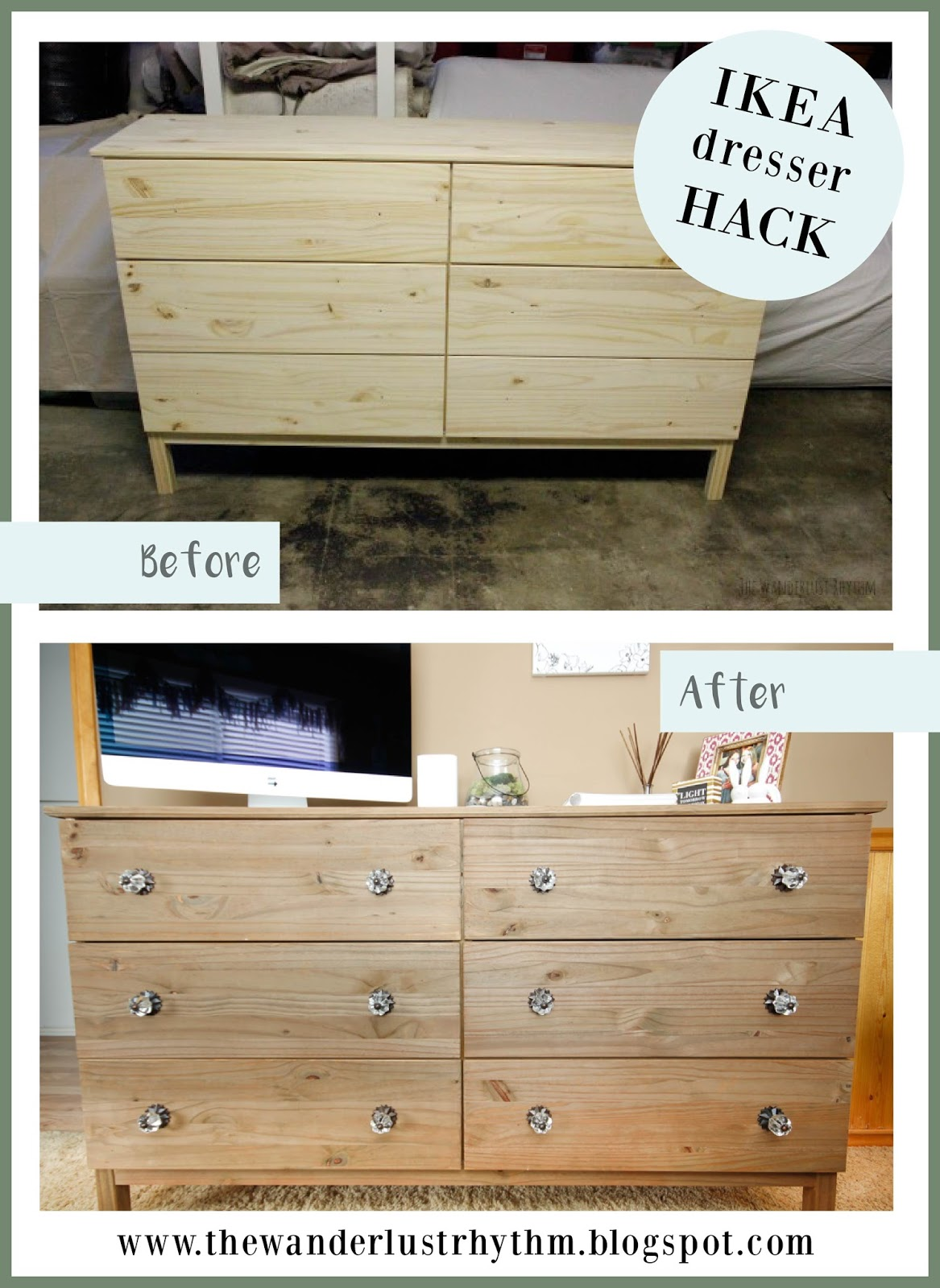 the wanderlust rhythm ikea hack tarva dresser. Black Bedroom Furniture Sets. Home Design Ideas
