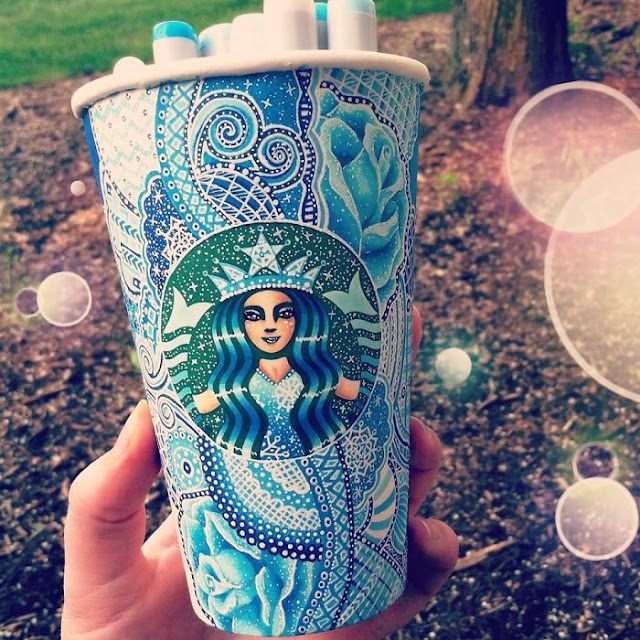 Recycled art made from starbucks cup