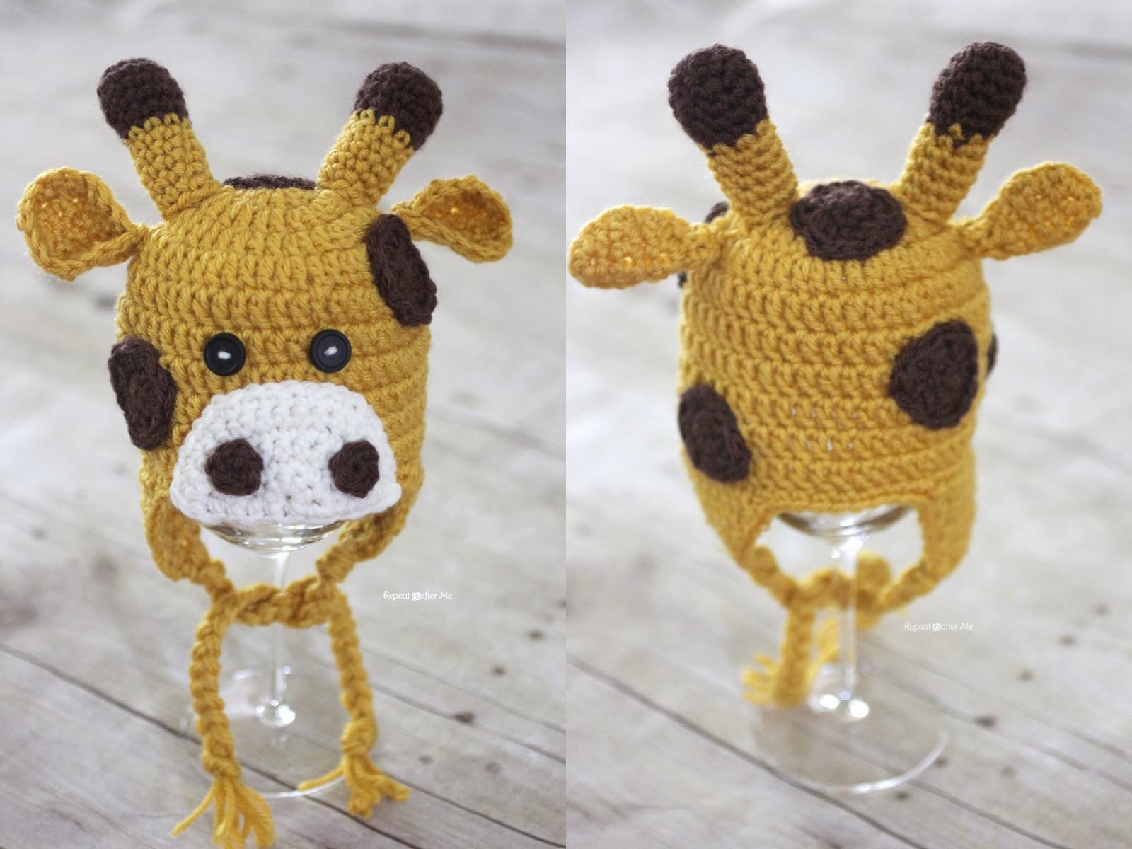 Free Crochet Pattern Giraffe Hat : Crochet Giraffe Hat Pattern - Repeat Crafter Me
