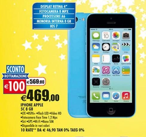 Offerta apple iphone 5c 8gb sconto rottamazione prezzo 469 for Acquisto mobili finanziamento tasso zero