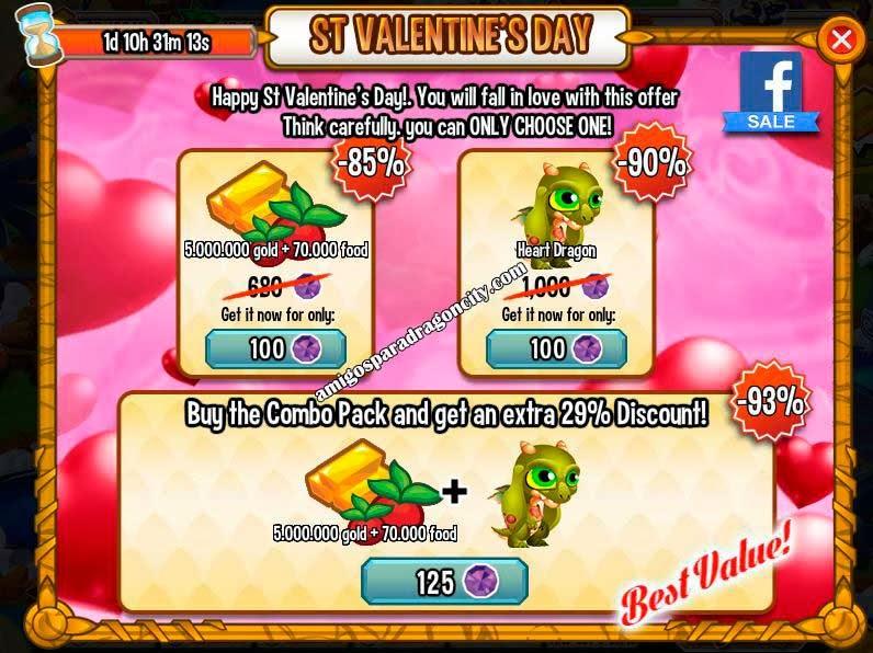 imagen de la oferta de san valentin de dragon city