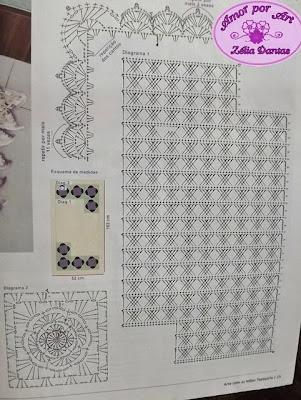 Passadeira ou tapete em crochê com flores coloridas e Gráfico