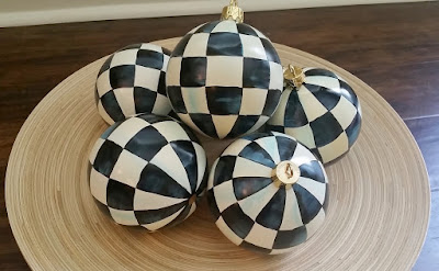 black and white check hand painted ornaments, bowl filler