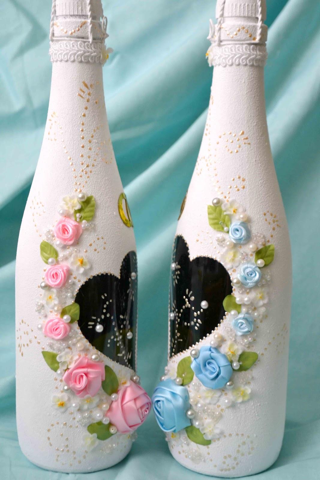 Как своими руками украсить свадебное шампанское 79
