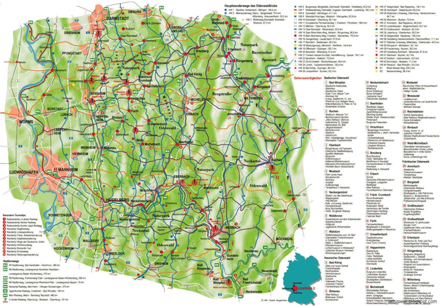 Odenwald Germany Map