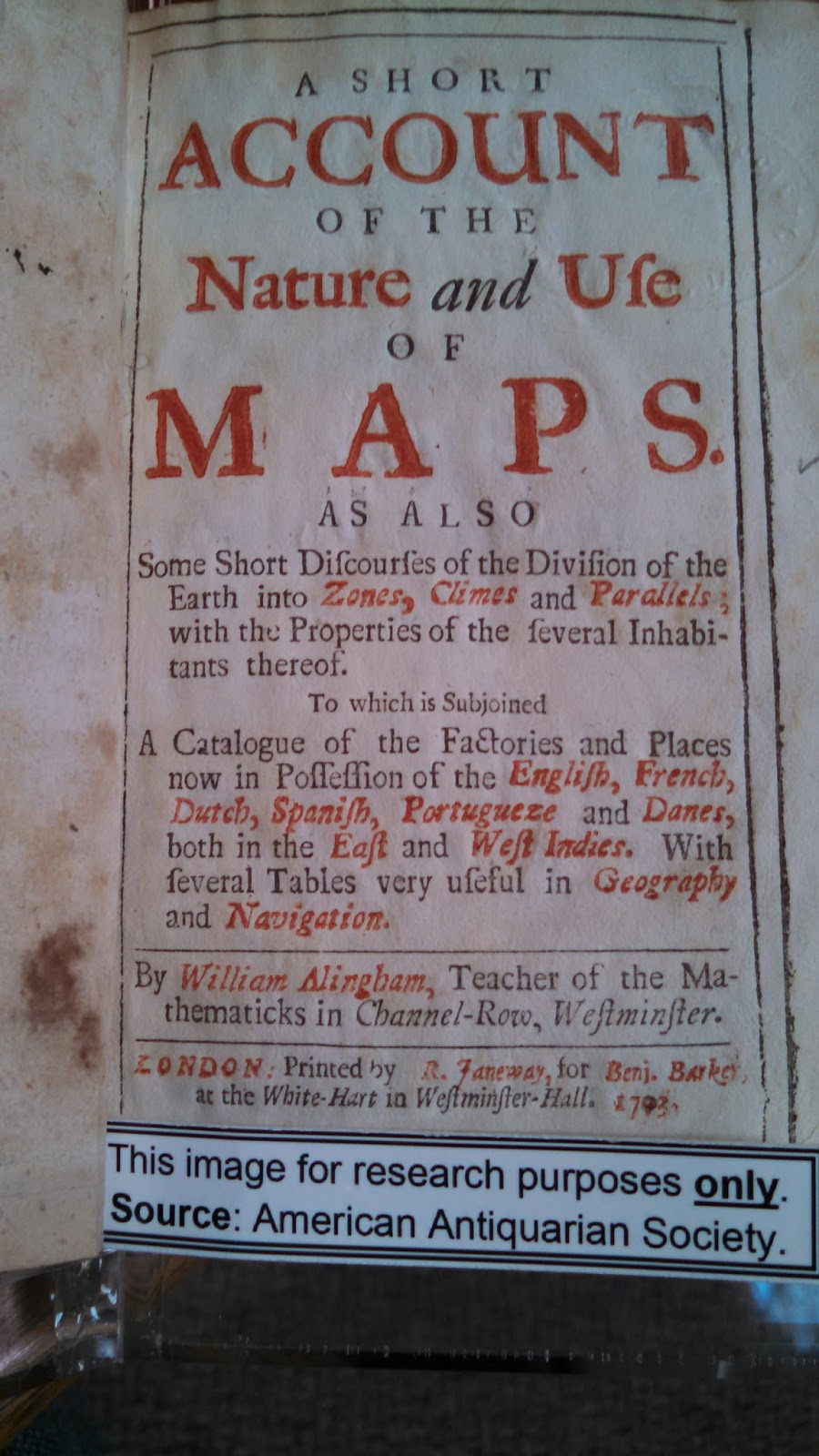 title page of A Short Account of the Nature and Use of Maps