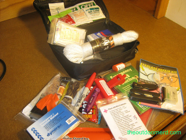 Car survival kit, shown with contents