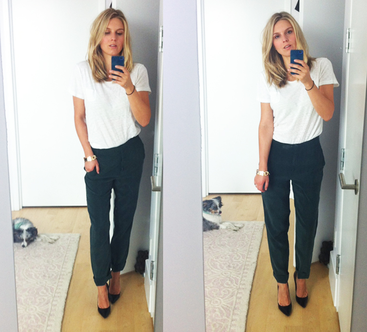 Simple White Gap Tee COS Silk Pants Guess Pumps