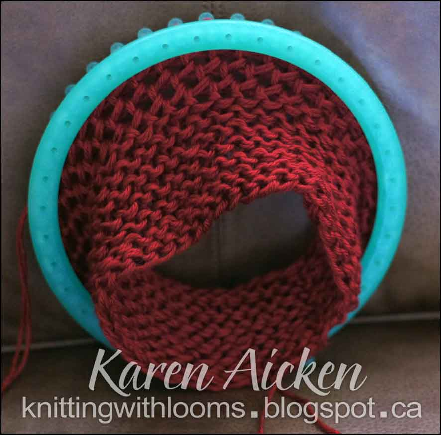 Knitting With Looms: Red Hat WIP