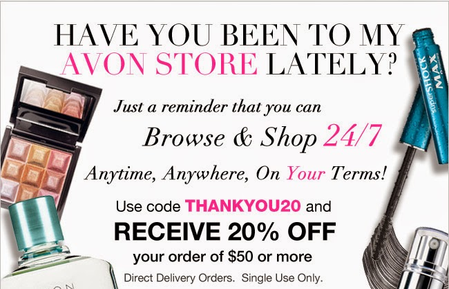 Get 20% discount on Avon online orders and free shipping
