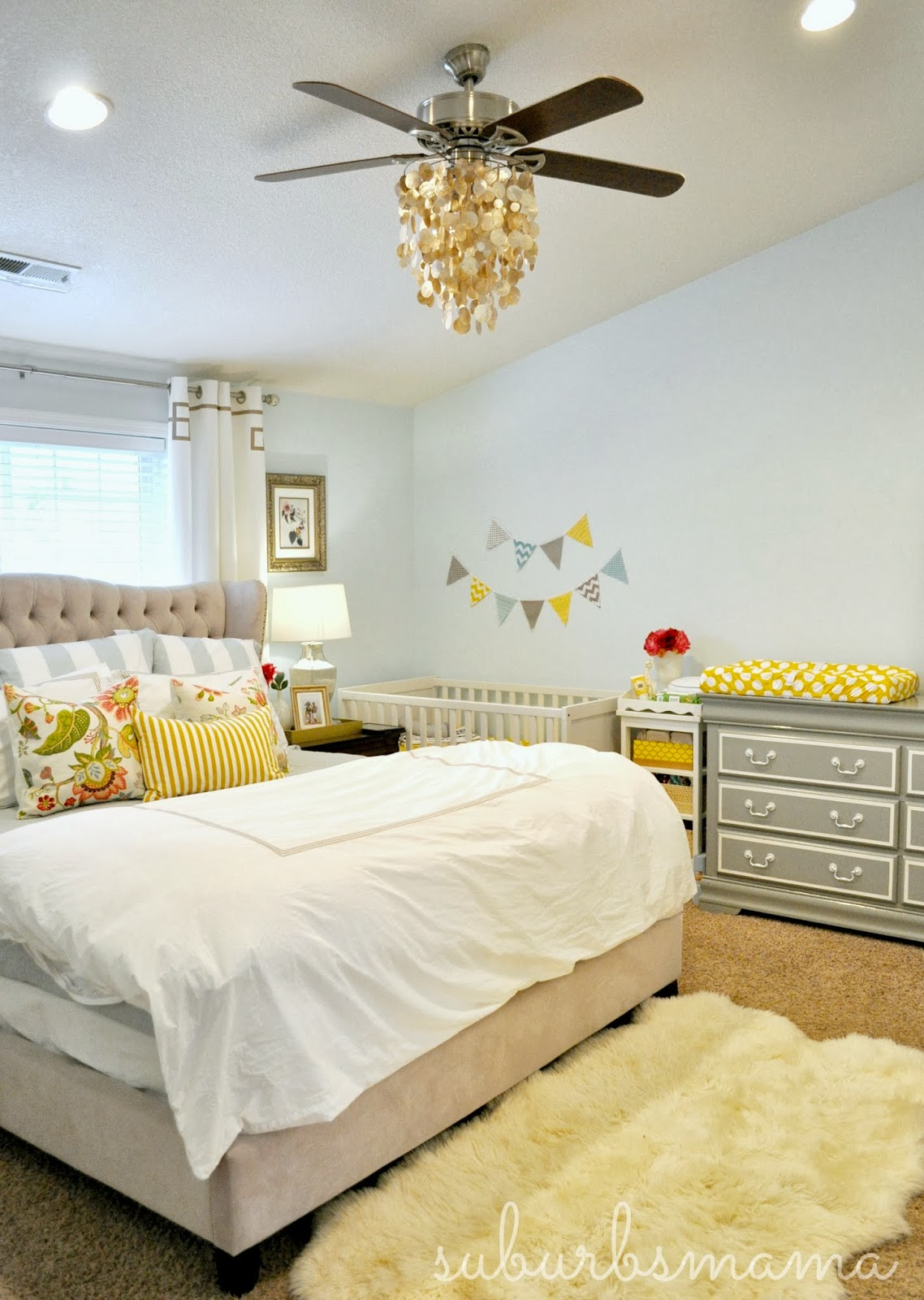 Suburbs mama nursery in master bedroom for Create my bedroom