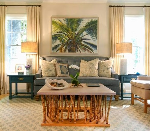 A Fun Cozy Tropical Living Room With A Palm Leaf Theme By Kemble Interiors.
