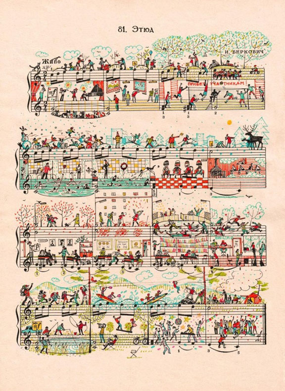 Vida urbana y los colores vibrantes elaborados en partituras