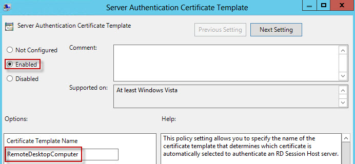 Create trusted remote desktop services rdp ssl certificate enable the policy and enter the certificate template name that exactly matches what you created in your ca yelopaper Image collections
