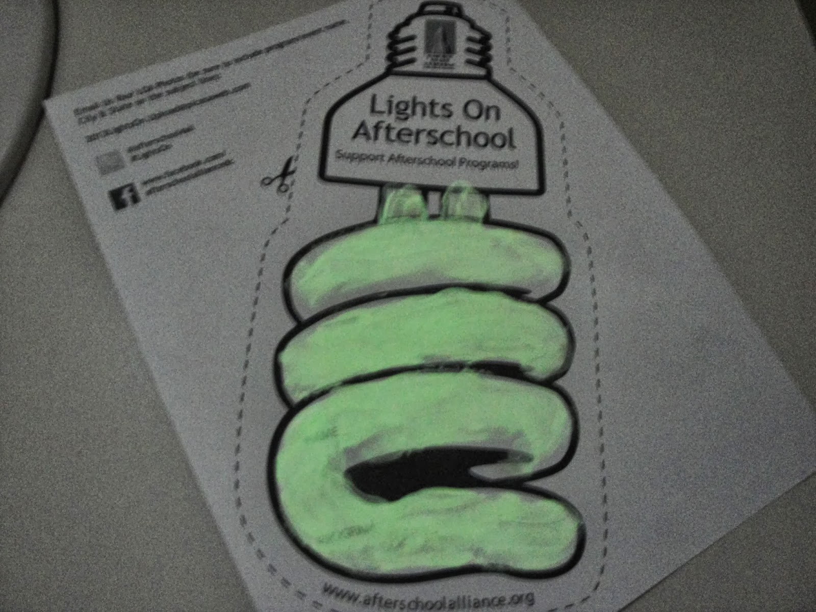 ... Of GLOWING In Response To LIGHT Energy. A Light Bulb Excites Atoms In  The Phosphor, Causing Them To Store Light Energy. When We Turned The Lights  OFF To ...