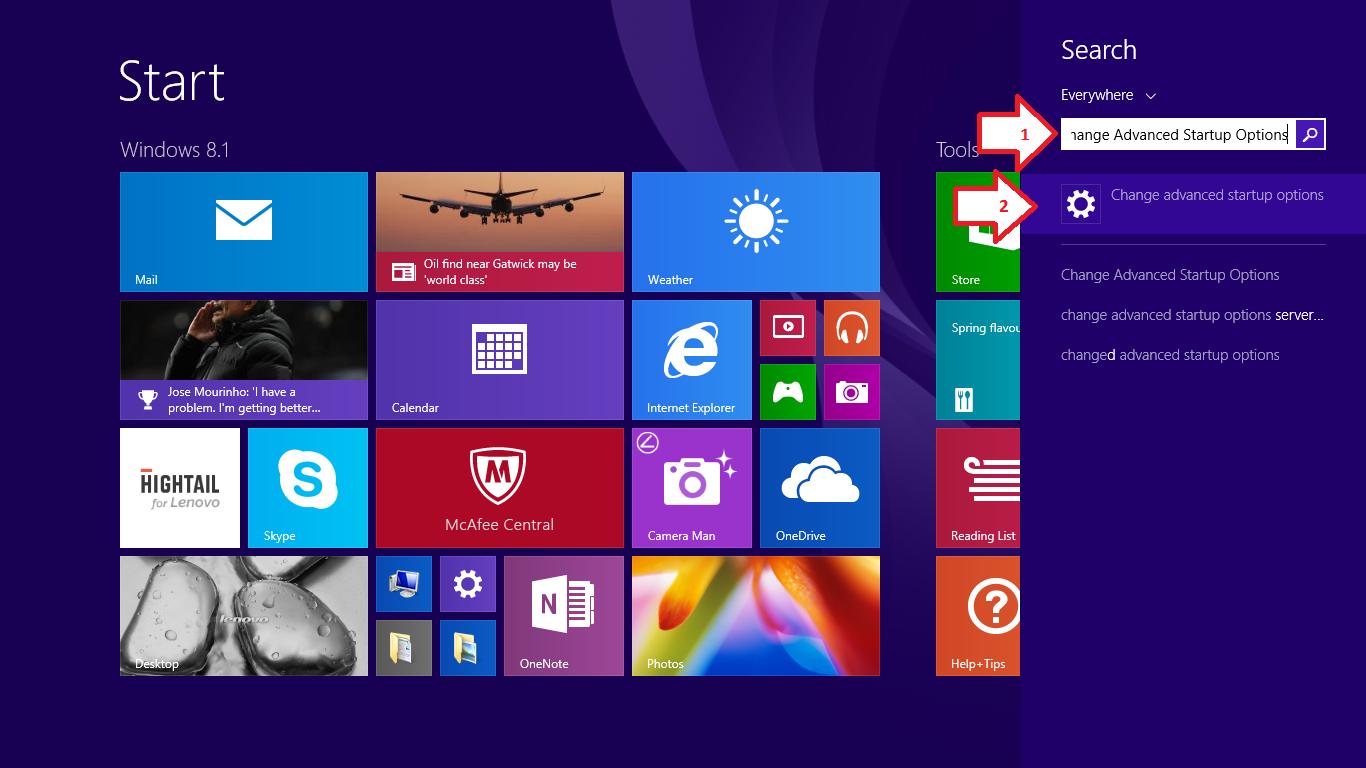 Selanjutnya tekan pilih dan klik menu Change Advanced Startup Options  #18014E 1366 768