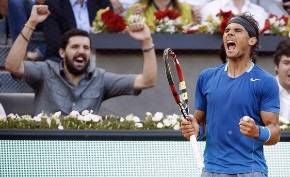 TENIS-Nadal hizo una remontada apoteósica pero eclipsada por la retirada de Nishikori. Sharapova conquista por primera vez Madrid
