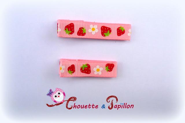 barrettes bébé / fille anti-glisse fraises