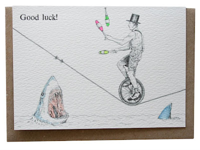 good luck card, skinny nib illustration