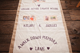 "Aisle runner entitled ""A Walk Down Memory Lane.""  Kent Buttars, Seattle Wedding Officiant"