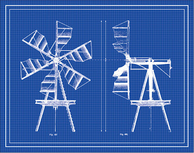 blueprint of a vintage windmill