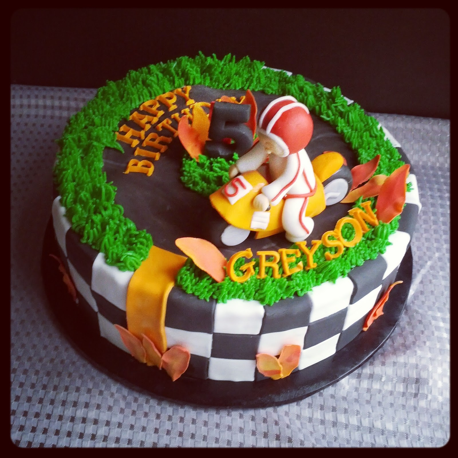 Second Generation Cake Design Motorcycle 5th Birthday Race Track