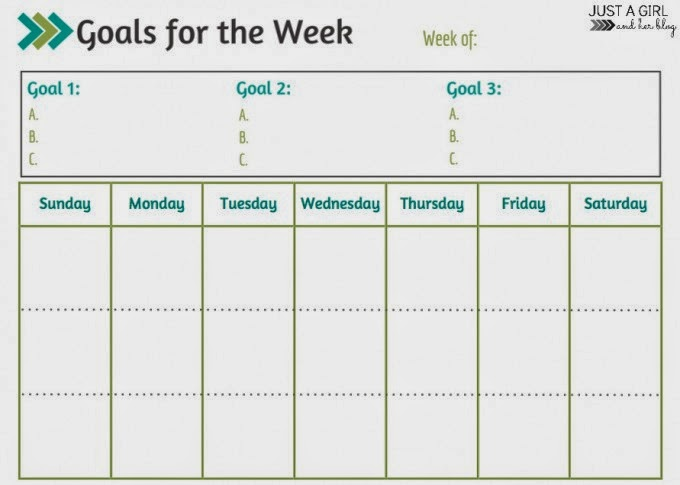 Weekly Goals Calendar : Free printables to stay organized nature whisper