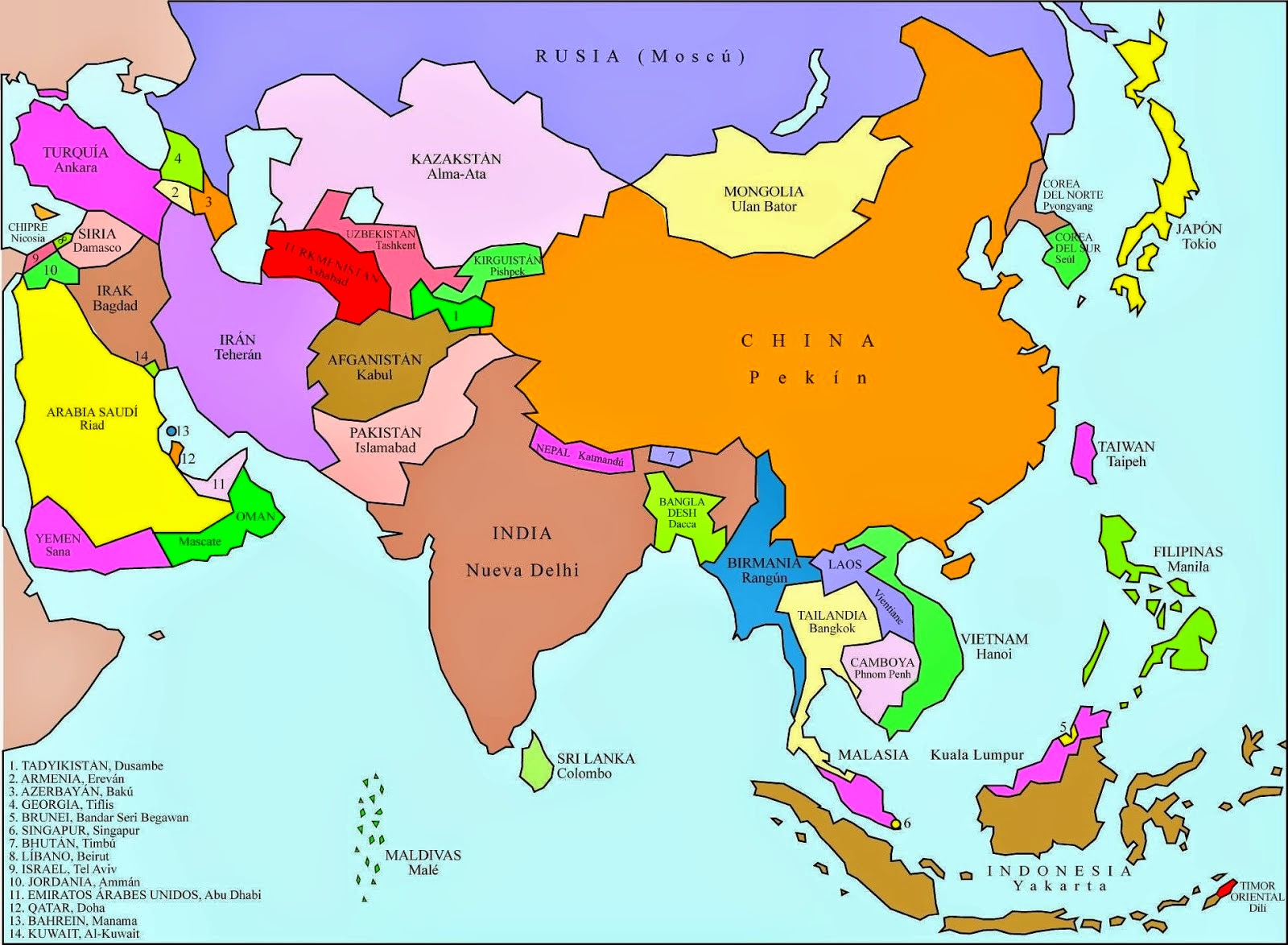 Map  Mapa Asia Capitales