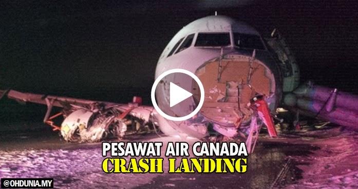 Video: Pesawat Air Canada terbabas ketika mendarat, 23 tercedera
