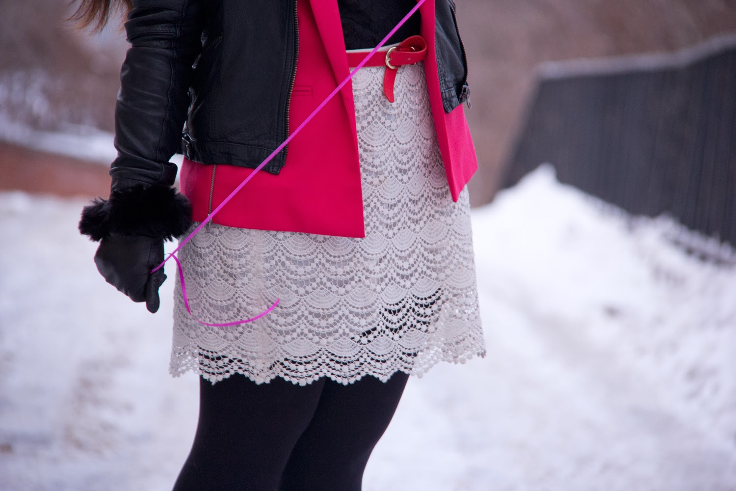 Lace-Skirt, Pink-Blazer, LeChateau-Gloves, Black-Leather-Jacket, Winter-Outfit
